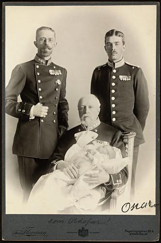 Portrett av kong oscar ii gustav v gustav vi og gustav adolf 1906