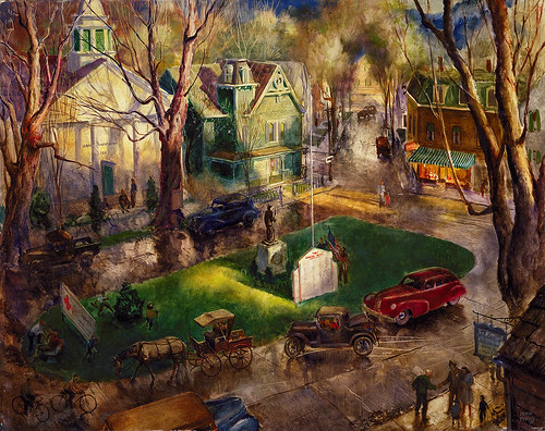 John Pike - Village Green [1945] by Gandalf's Gallery
