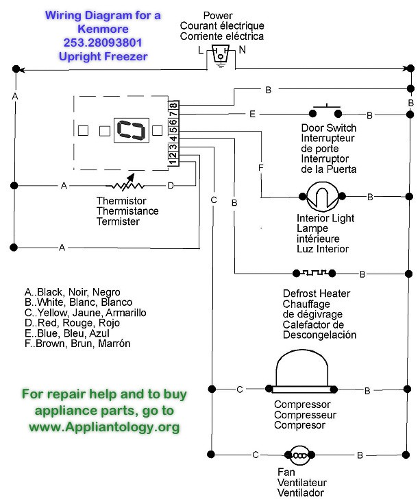 wiring diagram for a kenmore 253 28093801 upright freezer samurai rh appliantology org  kenmore upright freezer wiring diagram