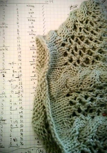 Trellis & vine sweater in progress