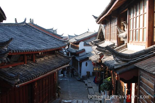 roofs of Lijiang Yunnan China