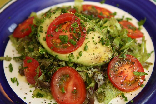 Avocado Salad  with Tomato, Herbs, and Bacon Fat