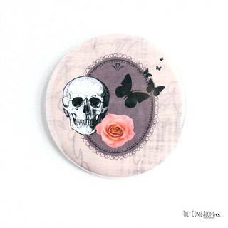 Skull Flower Butterflies Pinback Button