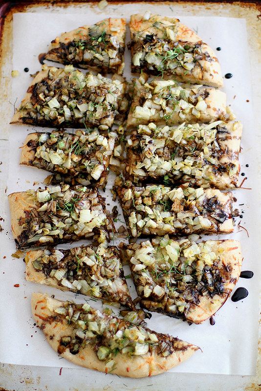 caramelized spring onion + fennel pizza with beer crust #PizzaWeek