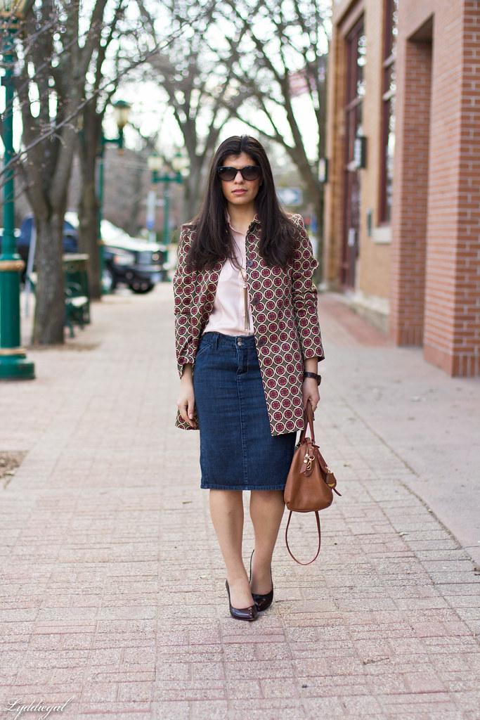 denim pencil skirt, printed jacket.jpg