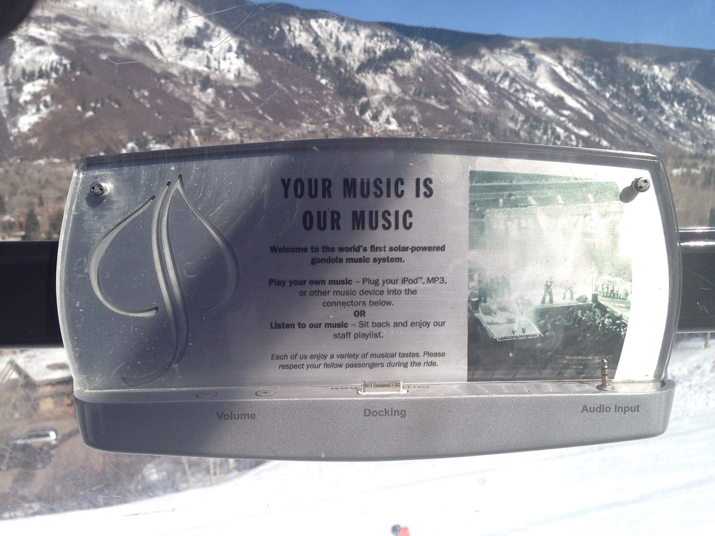 Solar powered music docking system in the gondola