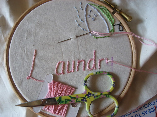 Embroidering a label