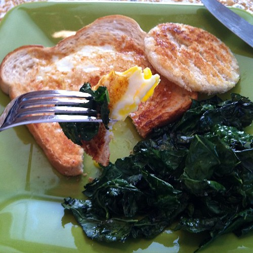toad-in-the-hole with crispy kale