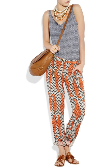 Pajama Look printed silk-jersey pants