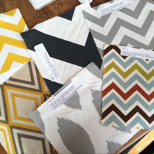Exciting! Fabric samples for dining room curtains.
