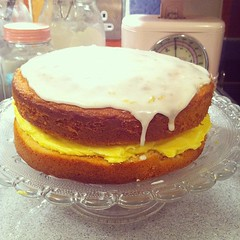 Sponge cake with lemon buttercream and lemon drizzle icing