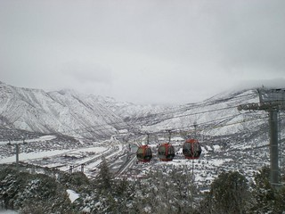 View on a snowy day at Glenwood Caverns