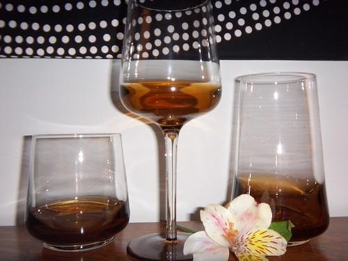 brown stemware