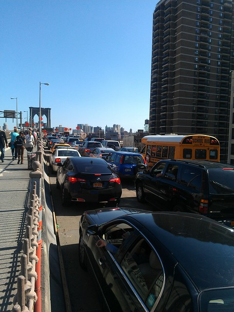 Traffic at a standstill on the Brooklyn Bridge Eastbound