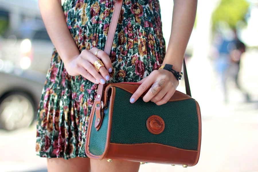 Tarte Vintage Floral Lookbook: Floral pleated dress, Dooney & Bourke purse