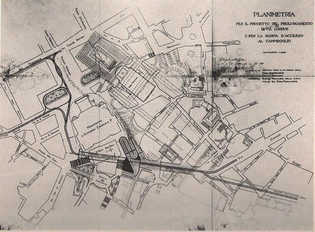 ROMA ARCHEOLOGICA - Planimetria per il progetto di prolungamento di via Cavour e per la rampa di accesso al Campidoglio (1919), con indicazione del traforo sotto il Campidoglio. A.C.S., M.L.P., Dir. Gen. Ed., V 106.