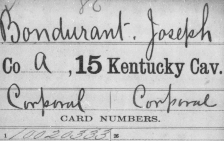 Joseph M Bondurant Civil War