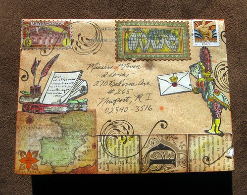 Map-themed mail art from Mrs. Sawbones