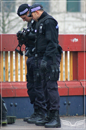 The Establishing Shot: Skyfall - Vauxhall Bridge Location - Metropolitan Police Officers getting their prop Heckler Koch MP5s from the propsmaster by Craig Grobler