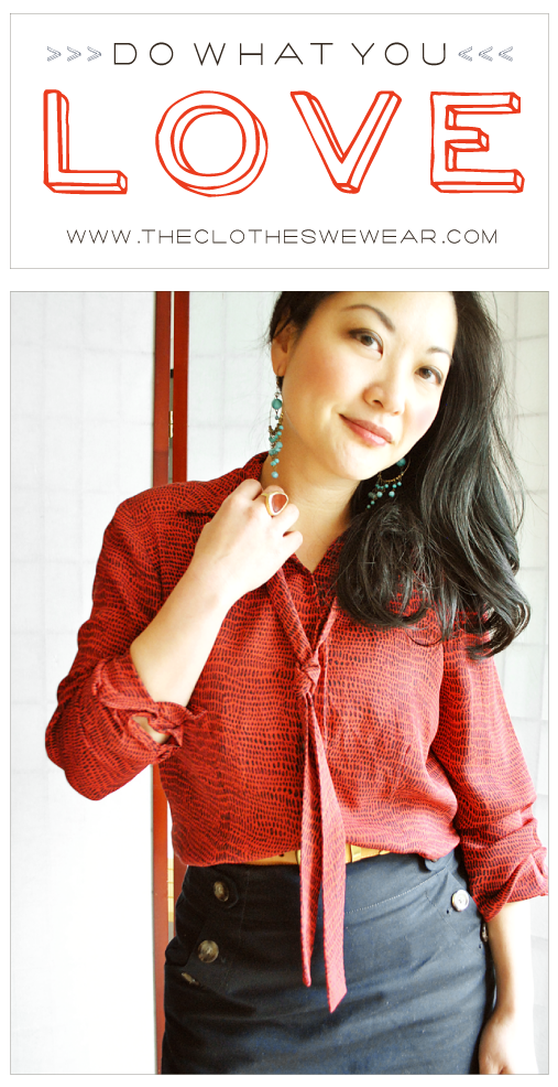 Do What You Love - The Clothes We Wear - Silk Red Snakeskin Bow Blouse, Navy Skirt