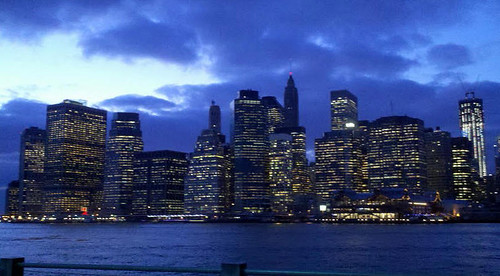 Lower Manhattan Skyline Later In Twilight