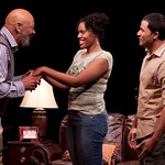 Wendell W. Wright (as Joe LeVay), Nikkole Salter (as Taylor), and Jason Dirden (as Kent) in the Huntington Theatre Company's production of Stick Fly. Part of the 2009-2010 season.