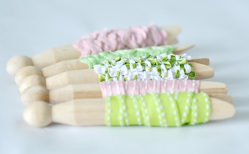 Ribbon wrapped dolly pegs