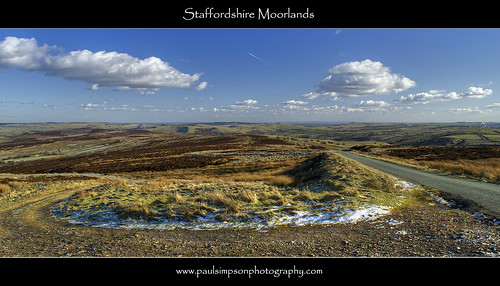 road uk england panorama snow nature beauty sunshine clouds countryside scenery peakdistrict scenic wideangle bluesky hills views vista wilderness peaks staffordshire naturalworld moorlands photosof sonya100 poloriser february2012 paulsimpsonphotography