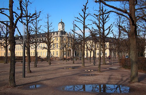 Karlsruhe, Castle Square in an afternoon in the winter