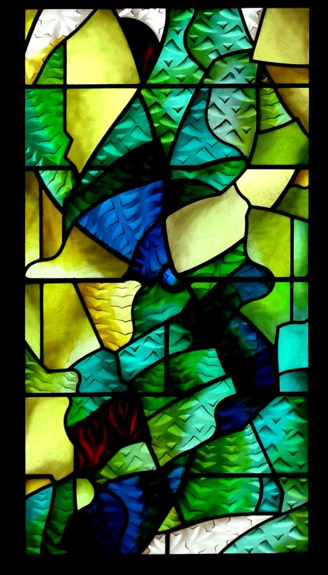 Stained glass abstract window