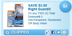 $3.00 Off Two Total Defense 5 Anti-perspirant Coupon