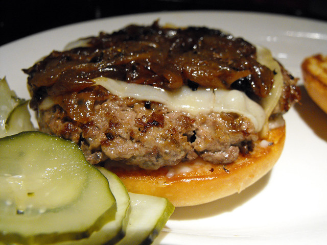 Flat Patties burger: caramelized onions and gruyere
