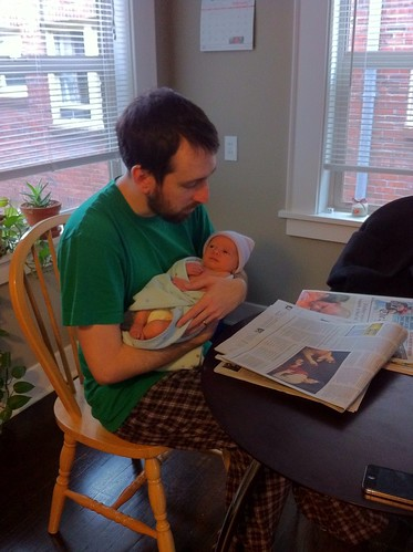Franklin and Dad Reading the New York Times