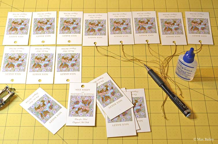 Making hang tags for Max Bailey dolls