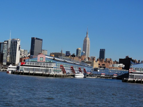 Circle Line terminal and Empire State Building from Hudson River