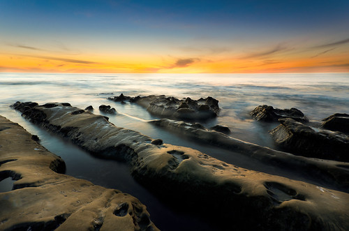 [フリー画像素材] 自然風景, ビーチ・海岸, 海, 朝焼け・夕焼け, 風景 - アメリカ合衆国 ID:201203092000
