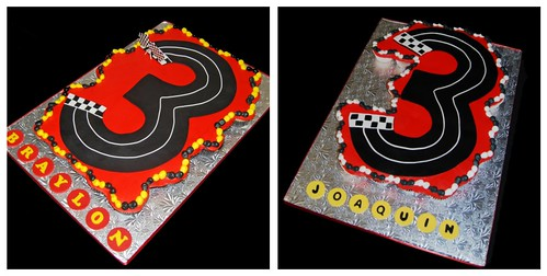Racecar Cupcake Cakes - 3 shaped racetrack