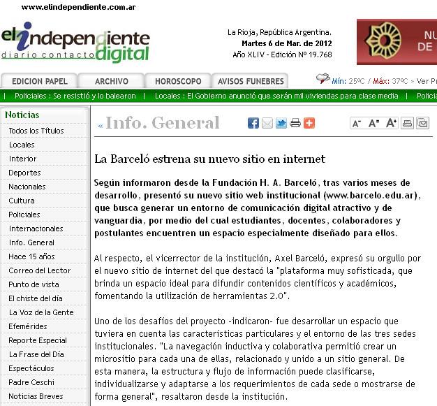 Nuevo Sitio web - el independiente - 6.03.2012