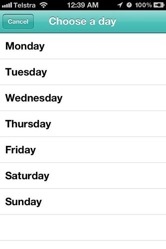 Menu Planner App - Choose day