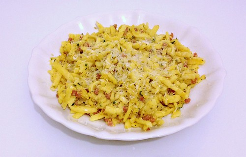 Gebratene Spätze mit Speck - Resteverwertung / Fried spaetzle with bacon - leftovers