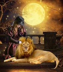 Girl and lion in the moonlight