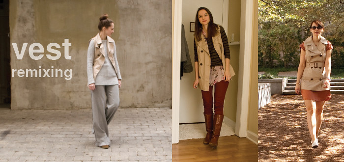 how to wear, remix, style blog, trench vest, vests, ideas for vests