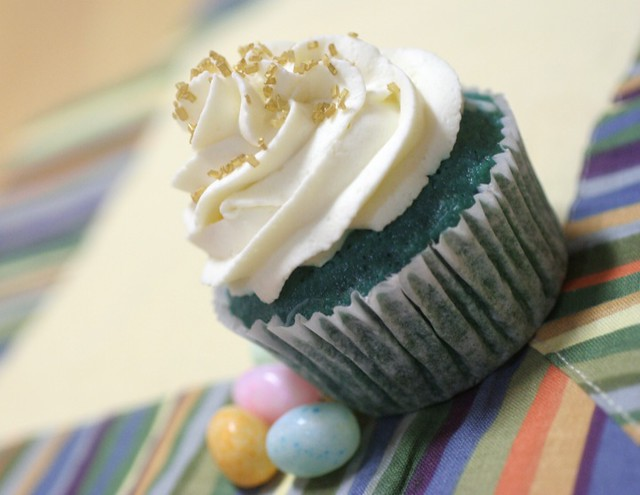 White Chocolate Filled Blue Velvet Cupcakes with Whipped Cream Cheese Frosting