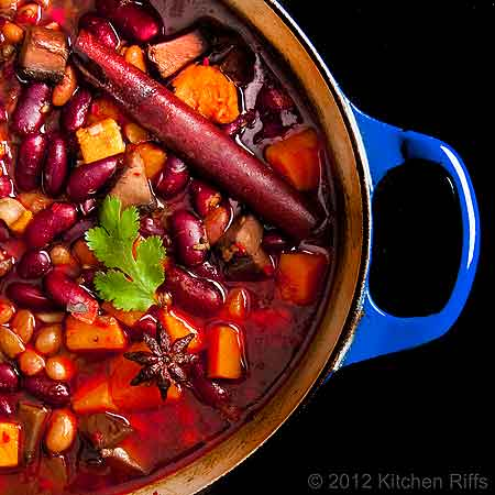 Red-Braised Beans and Sweet Potatoes in Dutch Oven, Overhead View