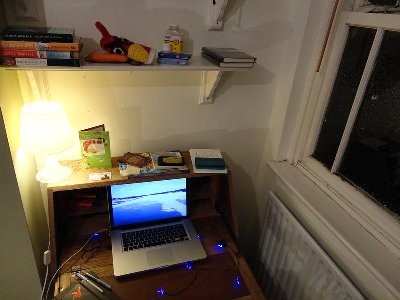 Light. Warmth. Desk. Writing tools. Things.