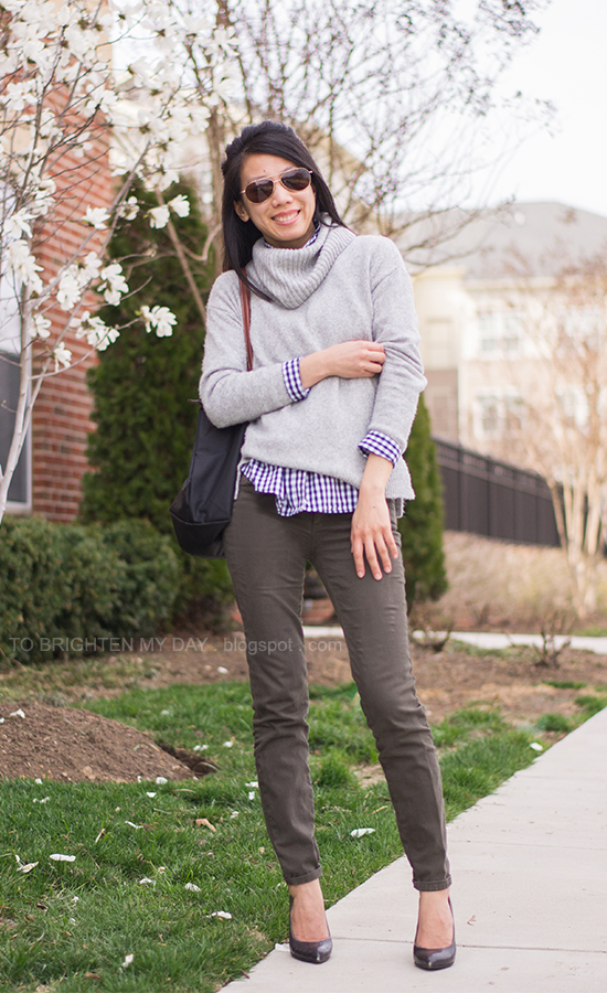gray turtleneck sweater, navy gingham shirt, olive pants