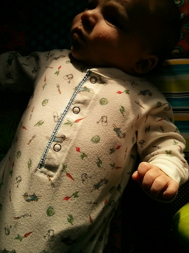 In protest of snow on the ground, Willem is wearing his gardening sleeper.