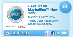 Maybelline New York Color Tattoo 24hr Cream Gel Shadow  Coupon