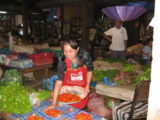 Friendly vendor at Xieng Khuang Market