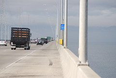 Deck of the San Mateo Bridge, looking west